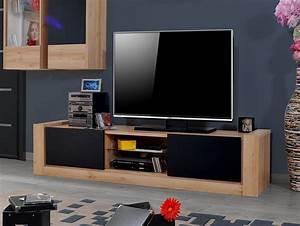 Meuble Bois Et Noir : ensemble meubles tv couleur chne clair et noir mat elise ~ Dailycaller-alerts.com Idées de Décoration