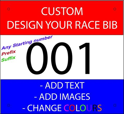 race bib race bibs race numbers custom printed add text add images for running cycling