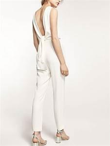 Combinaison Femme Pour Mariage : autumn spring summer 2017 women s white jumpsuit with bow ~ Mglfilm.com Idées de Décoration