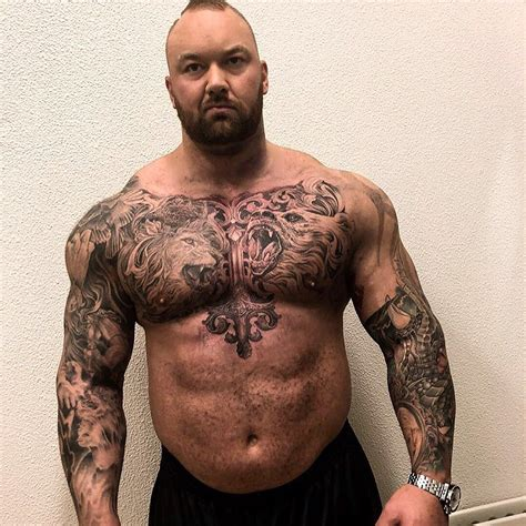 thor bjornsson chest tattoo  strength  man
