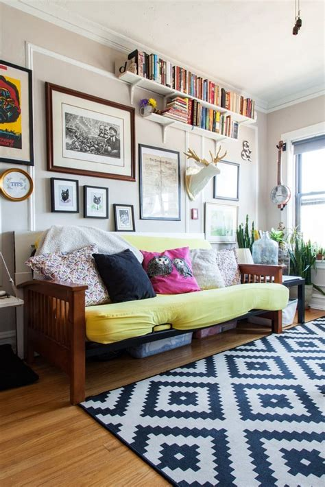 Living Room With Futon by A 325 Square Foot Cozy Femme Clutter Chicago Studio