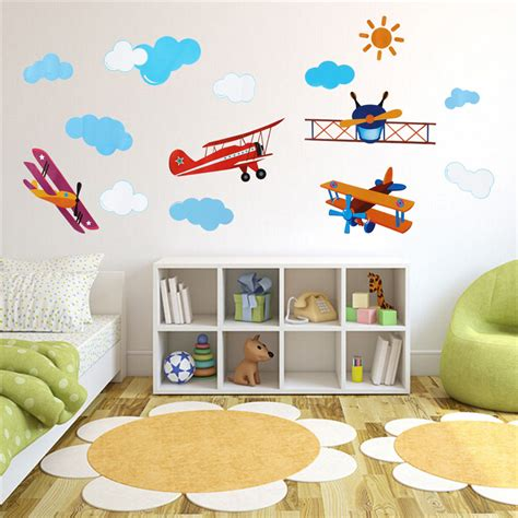 Brand New!diy Pvc Cute Four Air Planes Multicolor Room