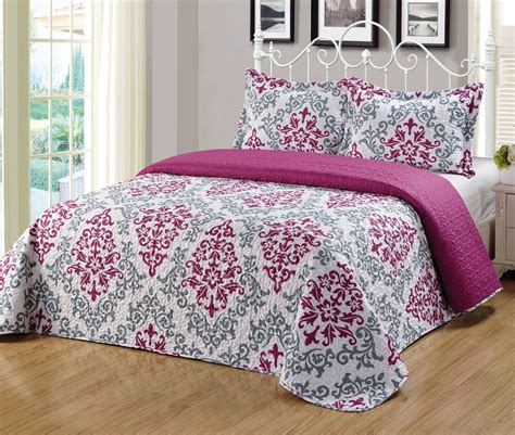 King Size Bed Coverlet by 3pc King Size Floral Printed Quilts Bedspread