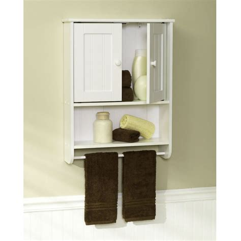 Bathroom Wall Cabinet With Towel Bar by Wall Mount Bathroom Cabinet With Towel Bar In White Finish