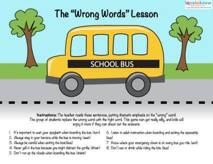 safety printables lovetoknow 503 | 180776 425x328 Bus Safety Principles Wrong Words