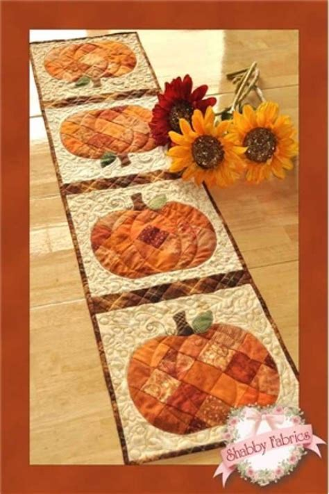 shabby fabrics table runner patchwork pumpkin table runner pattern by shabby fabrics