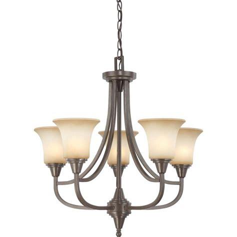 chandelier glass shades glomar 5 light vintage bronze chandelier with auburn beige