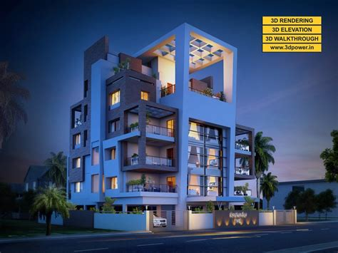 3D Modern Apartment day & night rendering and elevation