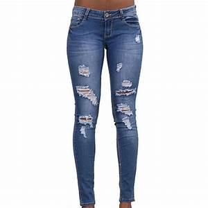 Jean Bleu Troué Femme : jean femme trou coupe slim mode taille basse simple flavor bleu bleu achat vente jeans ~ Melissatoandfro.com Idées de Décoration