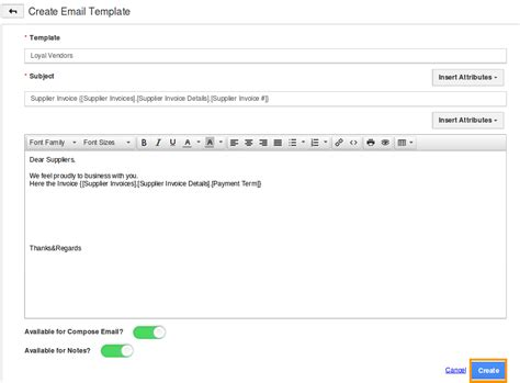 create email template how do i setup custom email templates for my supplier invoices