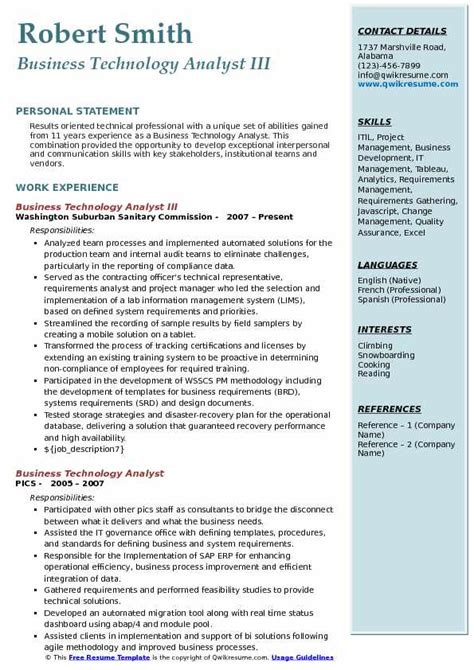 business technology analyst resume sles qwikresume