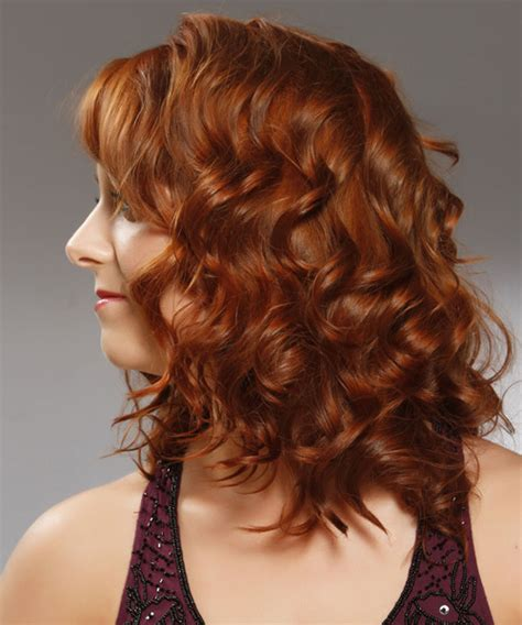 medium curly formal hairstyle  side swept bangs