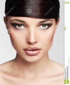 Fashion Beautiful Girl.Hairstyle. Fringe. Professional ...