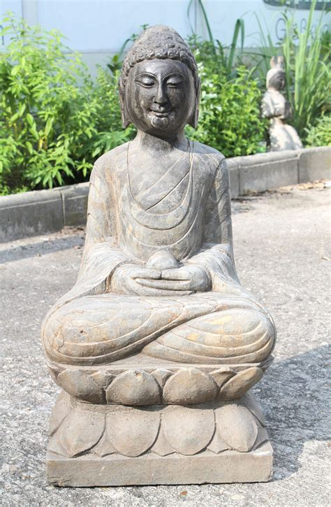 Großer Meditation Naturstein Buddha China 20jh Skulptur