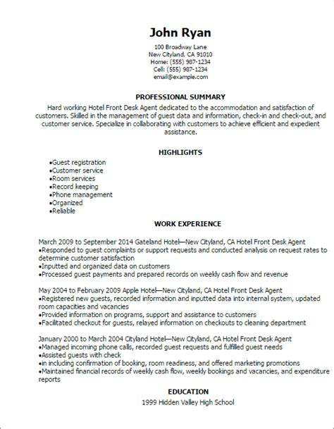 Front Desk Hotel Resume by Hotel Front Desk Resume