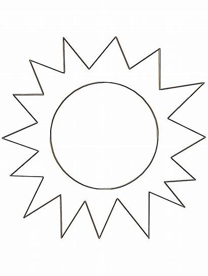 Sun Coloring Clipart Printable Sunshine Colouring Template