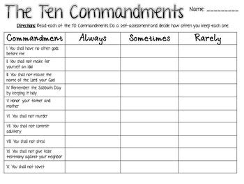 ten commandments activities protestant tpt