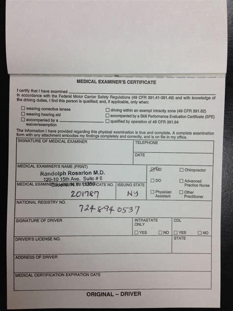 cdl medical certification doctors medical form templates