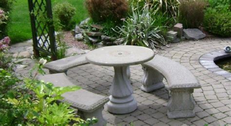 concrete patio table set concrete table and bench set home design ideas and pictures