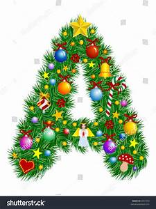 letter christmas tree decoration alphabet stock vector With christmas tree letters