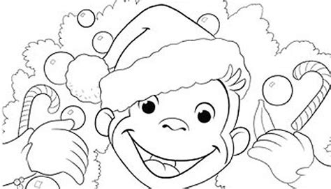 curious george christmas coloring pages festival collections
