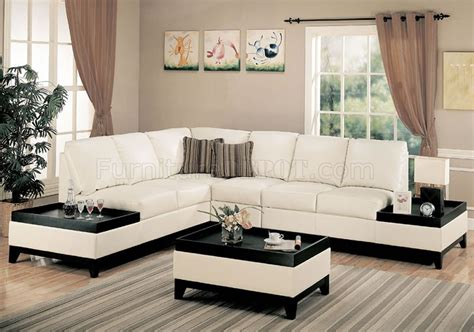 end tables for sectionals cream full bonded leather modern sectional sofa w side tables