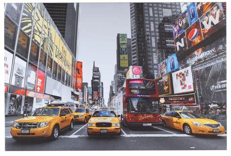 toile sur cadre new york 3 taxi grande dimension