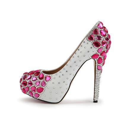 hot pink rhinestone platforms wedding girls average pumps