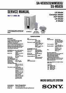 Sony Sa-ve835ed  Sa-wms835  Ss-ms835 Service Manual