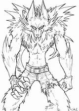 Werewolf Coloring Lineart Realistic Deviantart Template sketch template