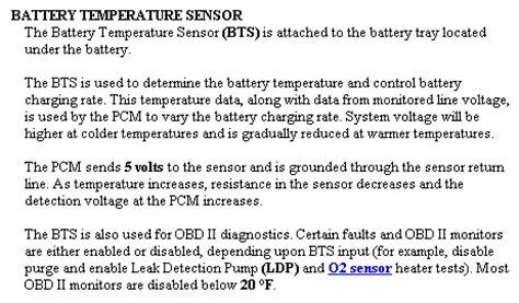 function   battery temperature sensor