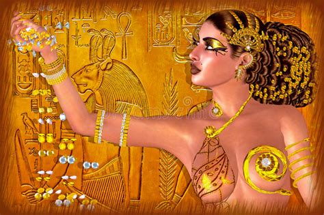 Egyptian Princess Adorned In Gold Jewelry And Gems
