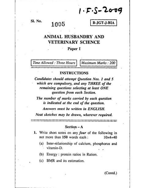 ifs animal husbandry  veterinary science paper  exam