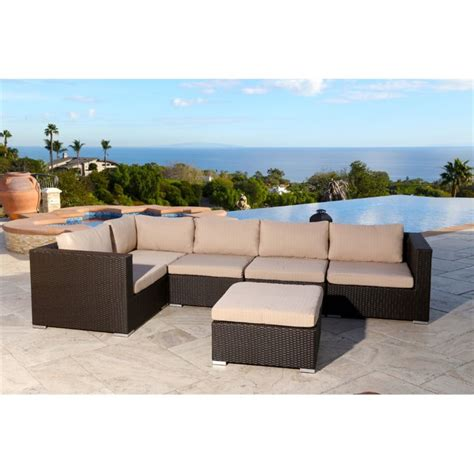 abbyson living newport 6 patio wicker sectional in