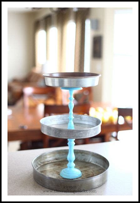 3 tier cake stand made of old cake pans or dollar store