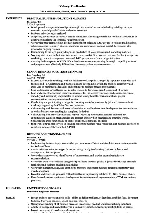 Business Manager Resume by Business Solutions Manager Resume Sles Velvet