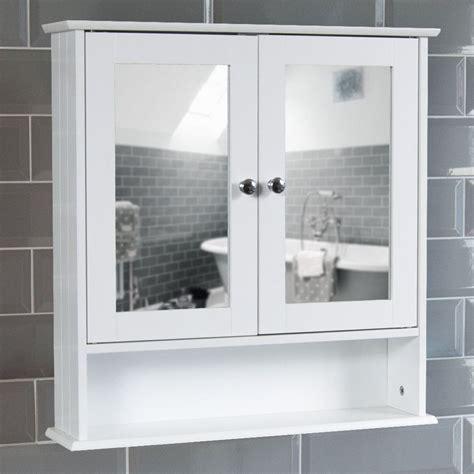 mirrored bathroom cabinet double doors bath wall mounted