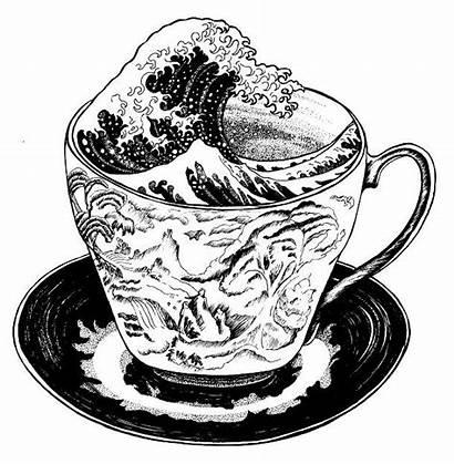 Tattoo Cup Tea Teacup Storm Wave Hokusai