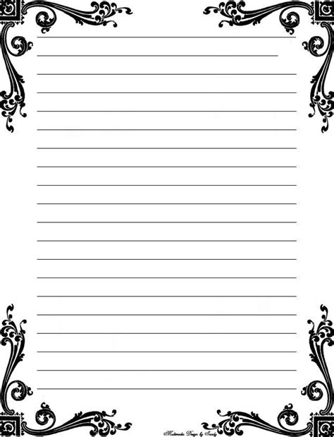 printable stationery templates deco corner lined