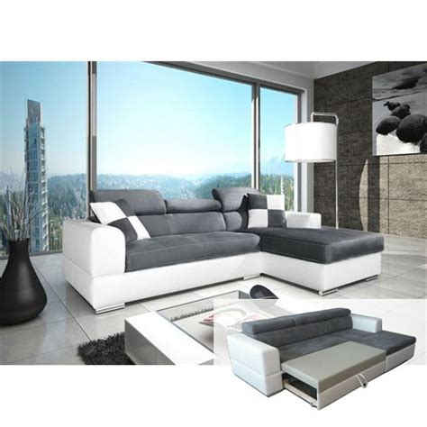 canap 233 d angle convertible n 233 to madrid gris et blanc design pas cher
