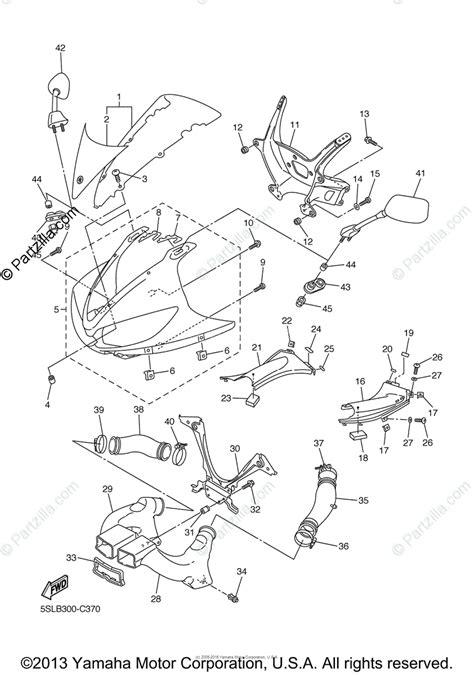 yamaha motorcycle 2005 oem parts diagram for cowling 1 partzilla