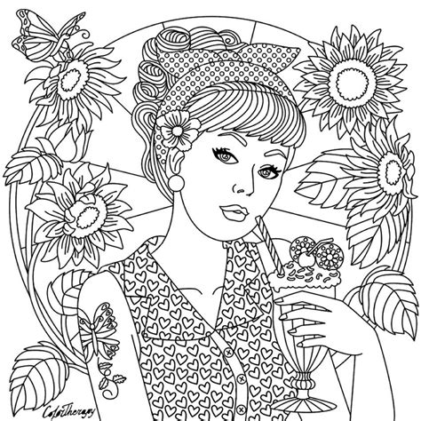 girl  color therapy app coloring pages  adults