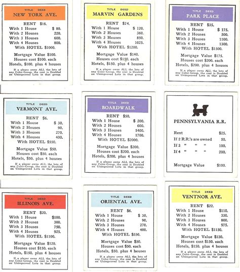 monopoly property cards template printablemonopoly