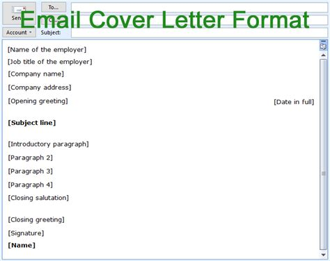 email cover letter format structure