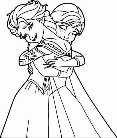 Elsa Anna Coloring Hugging Printable Hug Cartoon