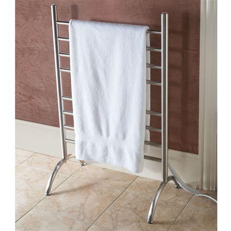 heated towel rack the best freestanding heated towel rack hammacher schlemmer