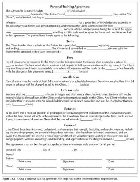 personal trainer forms  printable documents