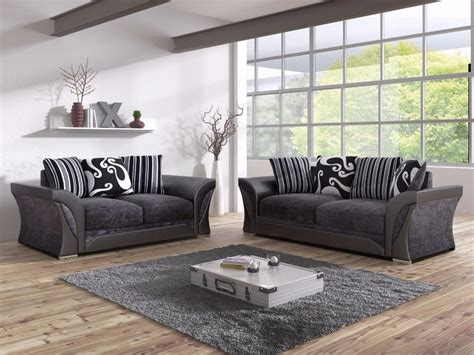 shannon black fabric  seater living room sofa set