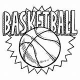 Basketball Coloring Children Simple sketch template