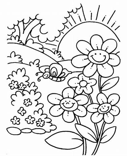 Coloring Pages Spring Nature Outdoors Sheets Printable